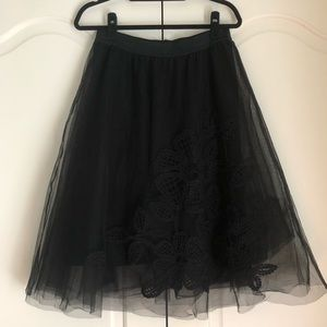 Maeve Anthropologie Black Tulle Skirt w/ Appliqué